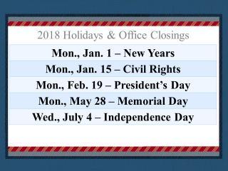 image 2018 holidays January to July
