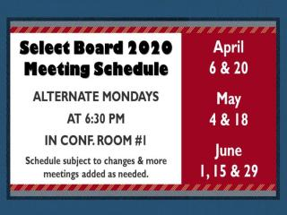 Select Board Schedule Through June