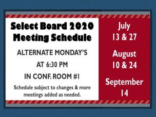Select Board Schedule thorugh September