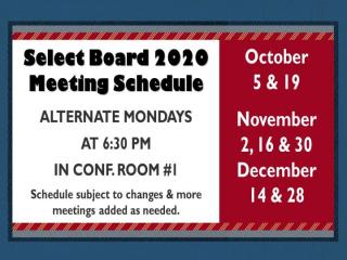 Select Board Schedule through December