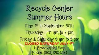 Recycling Summer Hours