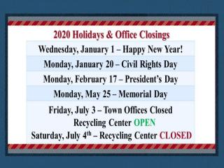 Town Holiday Schedule